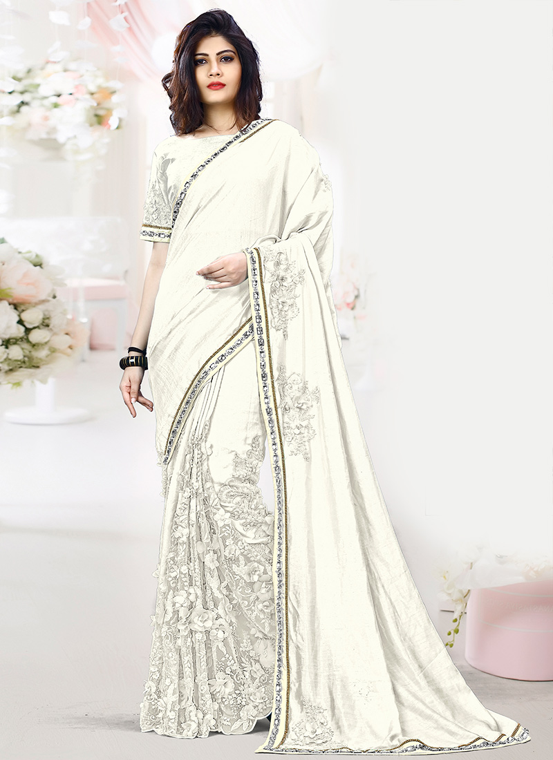 Buy White Embroidered Saree Beads Embroidered Sari Online