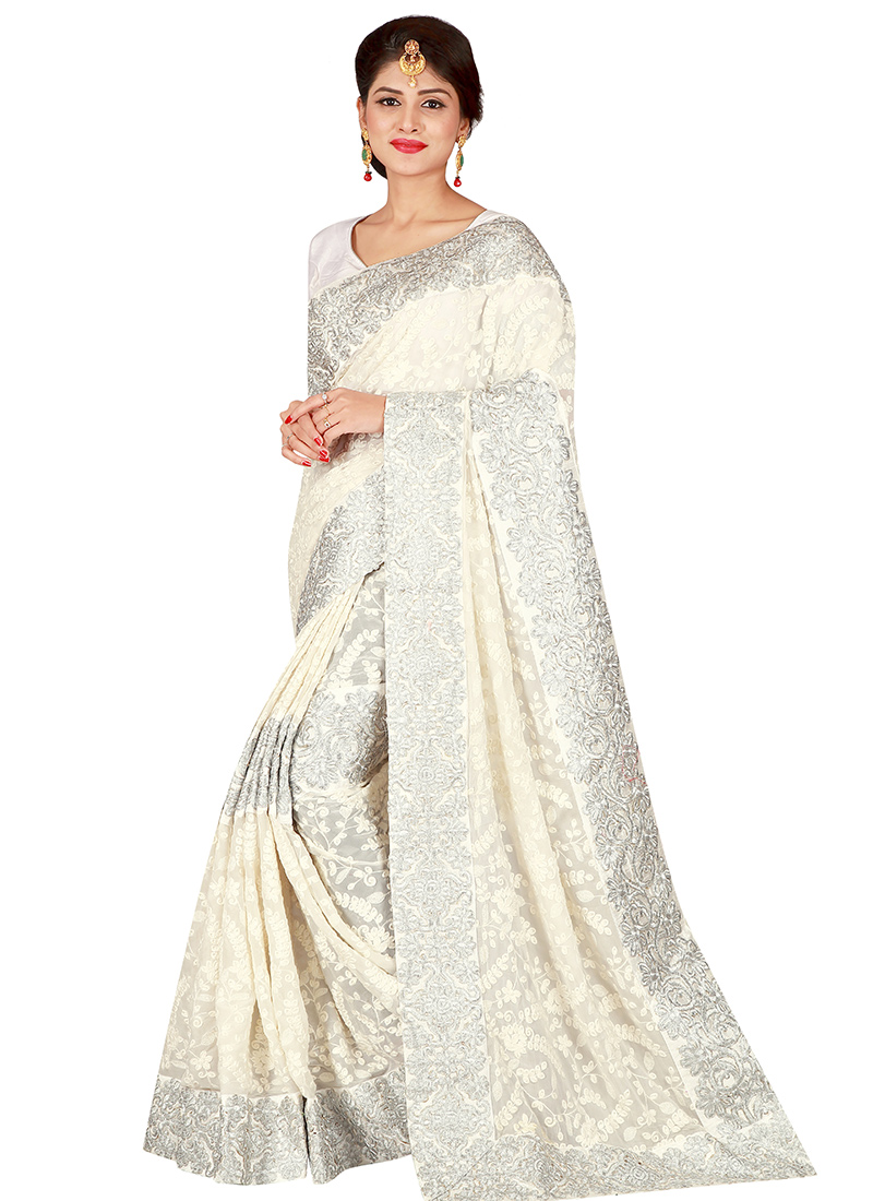 Buy White Embroidered Saree Embroidered Sari Online Shopping