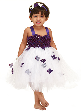 White Floral Design Kids Tutu Dress