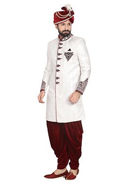 White Foliage Designed Jacquard Dhoti Style Sherwani
