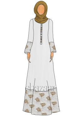 White Georgette Abaya