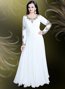 White Georgette Anarkali Gown