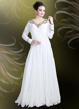 White Georgette Anarkali Gown