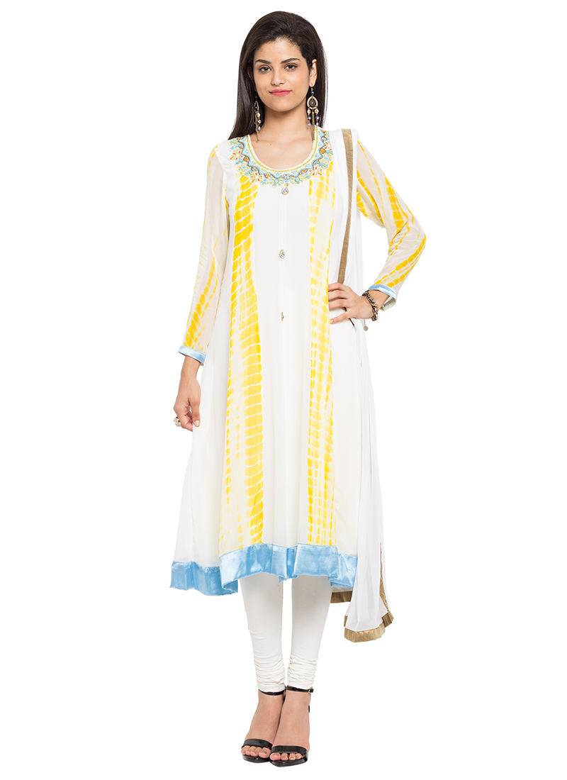 7680501900 Buy White Georgette Anarkali Suit, Beads , Printed , Embroidered ...