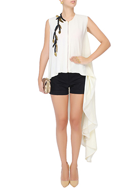 White Georgette Asymmetric Tunics