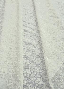 White Georgette Chikankari Fabric