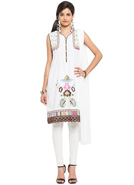 White Georgette Churidar Suit