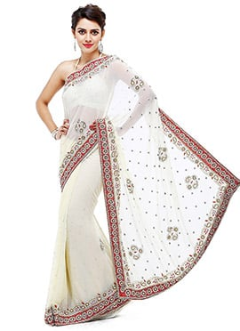 White Georgette Crystals Embellished Saree
