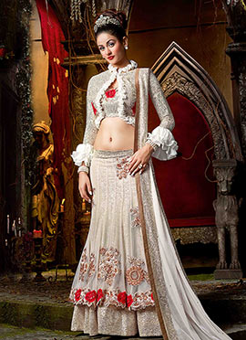 White Georgette Net Umbrella Lehenga