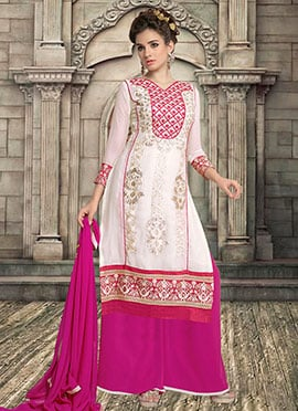 White Georgette Palazzo Suit