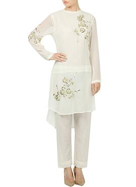 White Georgette Straight Pant Set
