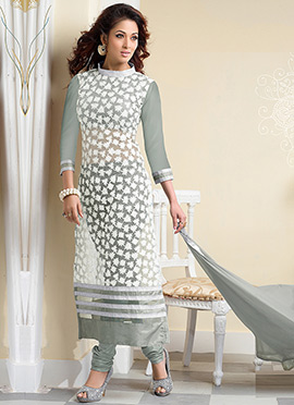 White Georgette Straight Suit