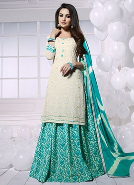 White Georgette Umbrella Lehenga