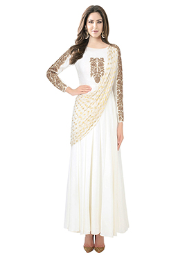 White Georgette Viscose Gown