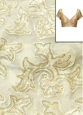 White Georgette With Embroidered Blouse Material