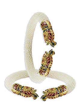 White Graceful Bead N Polki Studded Bangles