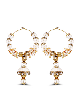 White Hoops Silk Thread Earrings