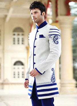 White Indo Western Sherwani