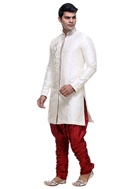 White Jacquard Breeches Sherwani