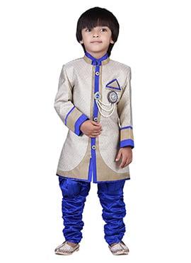 White Jacquard Kids Sherwani