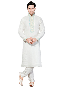 White Jacquard Kurta Pyjama