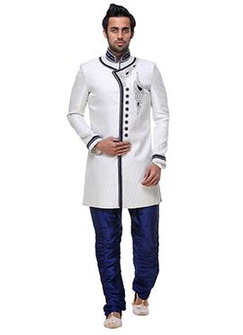 White Jacquard Sherwani