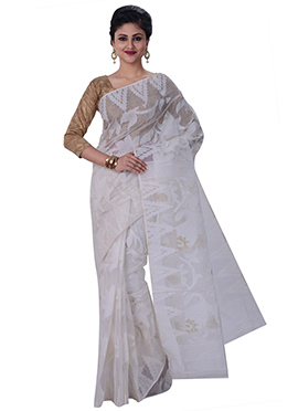 White Jamdani Muslin Silk Saree