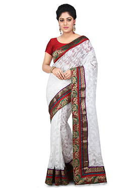White Jute Net Saree