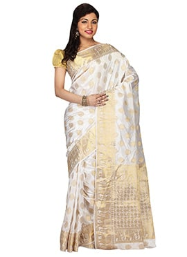 White Kancheepuram Art Silk Saree