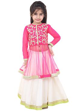 Chiquitita White N Pink Kids Lehenga Choli