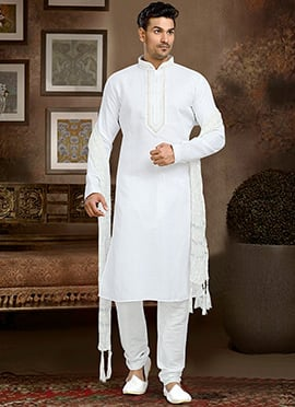 Off White Linen Cotton Kurta Pyjama