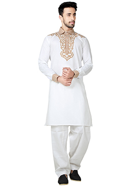 White Linen Cotton Pathani Set