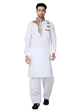 White Linen Cotton Pathani Set