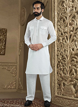 White Linen Pathani Set