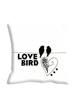 White Love Bird Cushion Cover
