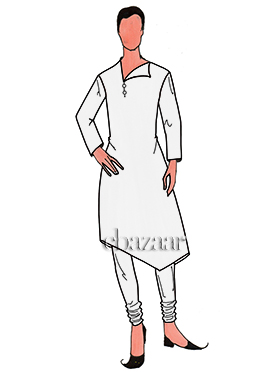 White Lycra Asymmetrical Kurta Set