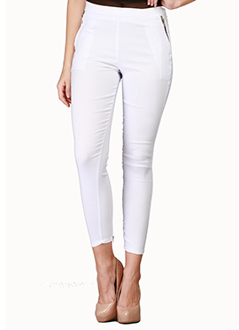 White Lycra Cotton Straight Pant