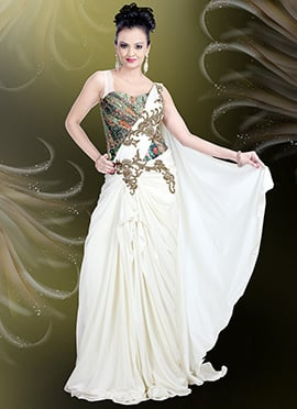 White Lycra Draped Gown