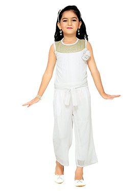 White Lycra Kids Jumpsuit