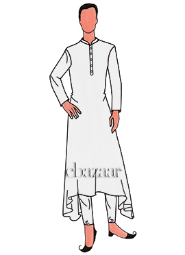 White Lycra Layered Kurta Set