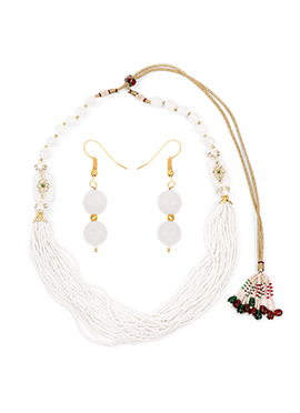 White Multilayered Beads Necklace Set