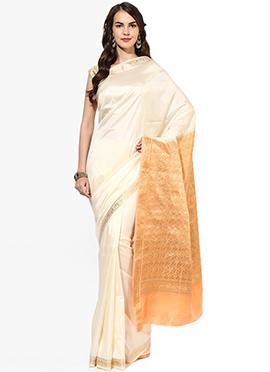 White Mysore Art Silk Saree