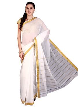 White Mysore Cotton Saree