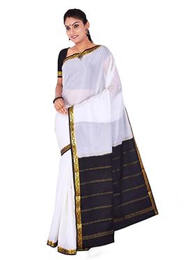 White Mysore Pure Crepe Silk Saree