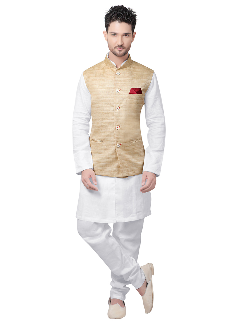 Buy White N Beige Linen Bandi Set Diwali Holi Bandi