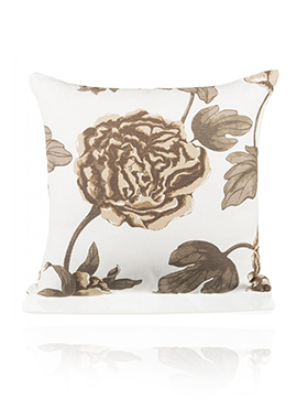 White N Beige Linen N Polysilk Cushion Cover
