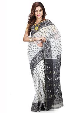 White N Black Art Silk Cotton Saree