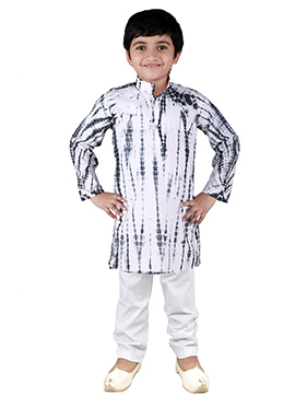 White N Black Blended Cotton Kids Kurta Pyjama