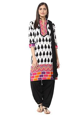 White N Black Blended Cotton Salwar Suit
