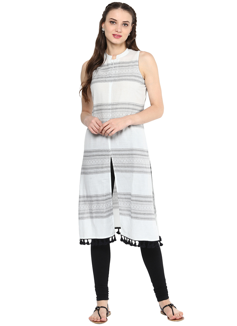 Buy White N Black Cotton Kurti Printed Long Kurti Online